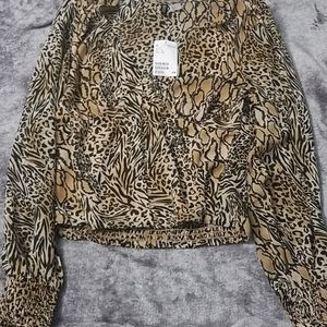 NWT H&M Animal Print Chiffon Blouse